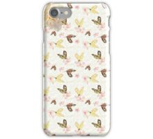 Vintage pink wite yellow butterfly floral iPhone Case/Skin
