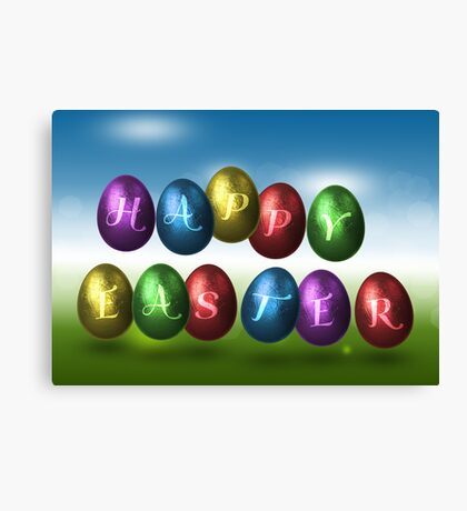 Coloured Happy Easter Eggs Canvas Print