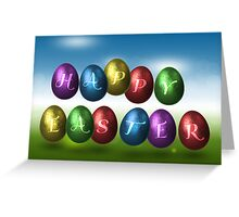 Coloured Happy Easter Eggs Greeting Card