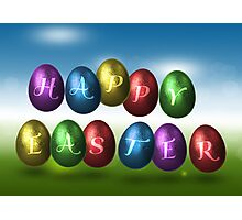 Coloured Happy Easter Eggs Photographic Print