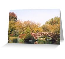 Central Park Bridge, Fall Colors, New York Greeting Card
