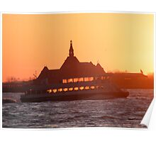 Jersey City, New Jersey Sunset and Ferry on the Hudson River Poster
