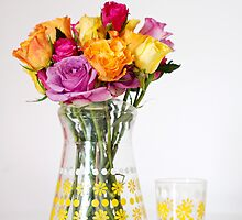 Bright Coloured Roses in a 60's Glass Jug by AnnaBaria