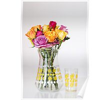 Bright Coloured Roses in a 60's Glass Jug Poster