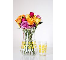 Bright Coloured Roses in a 60's Glass Jug Photographic Print