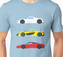 """Modern European Dream Cars """"The Trinity"""" Unisex T-Shirt"""