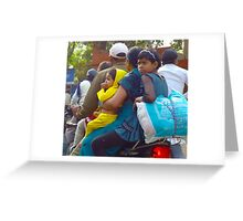 Family of 4 on a motorbike in India. Greeting Card