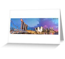 Singapore Skyline and Marine Bay Sands and Helix Bridge Greeting Card