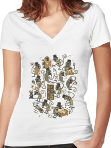 Monkey Magic (brown) Women's Fitted V-Neck T-Shirt