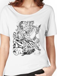 Robocat battle time out Black Women's Relaxed Fit T-Shirt