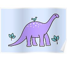 Purple Diplodocus Dinosaur with Bird Poster