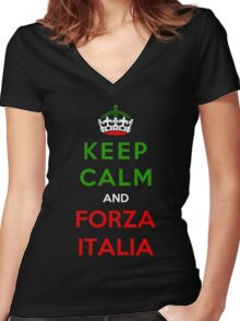 Keep Calm And Forza Italia Women's Fitted V-Neck T-Shirt