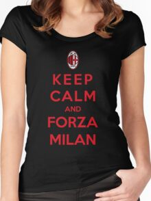 Keep Calm And Forza Milan Women's Fitted Scoop T-Shirt
