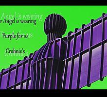 Angel wearing Purple for Crohn's Disease by Denise Wainwright