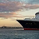 Queen Mary 2 and Melbourne's Westgate Bridge by Russell Charters