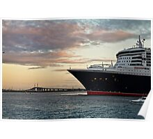 Queen Mary 2 and Melbourne's Westgate Bridge Poster