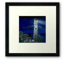 To the moon lighthouse Framed Print