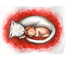 Sleeping Cat and Baby Poster