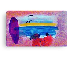 Surf  and Sand on a nude beach, watercolor Canvas Print