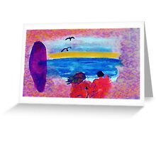 Surf  and Sand on a nude beach, watercolor Greeting Card