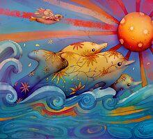 rainbow dolphins by © Karin (Cassidy) Taylor