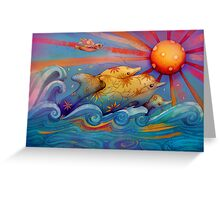 rainbow dolphins Greeting Card