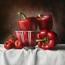Classic Still Life with tomatoes and peppers by Przemysaw Brdka