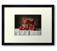 Classic Still Life with tomatoes and peppers Framed Print