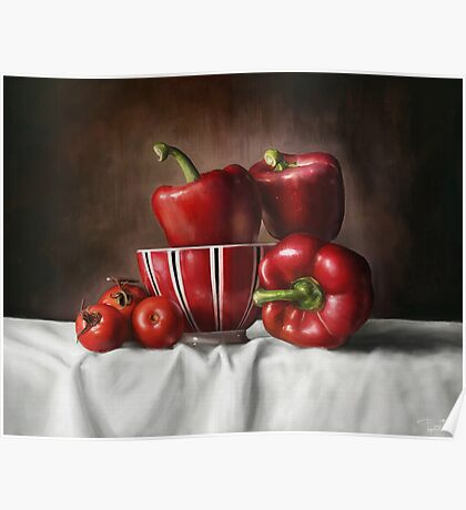 Classic Still Life with tomatoes and peppers Poster