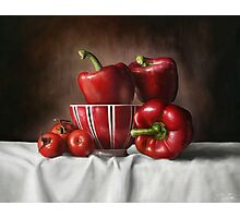 Classic Still Life with tomatoes and peppers Photographic Print