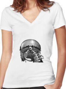 Fighter Pilot Helmet and Mask Women's Fitted V-Neck T-Shirt