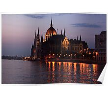 Hungarian Parliament Building at night Poster
