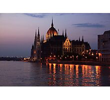 Hungarian Parliament Building at night Photographic Print