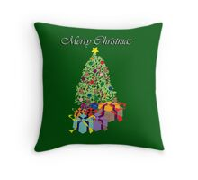 Christmas Tree with Colorful Decorations Throw Pillow