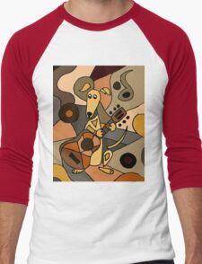 Funny Cool Greyhound Dog Playing Guitar Modern Art Men's Baseball ¾ T-Shirt