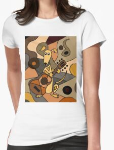 Funny Cool Greyhound Dog Playing Guitar Modern Art Womens Fitted T-Shirt