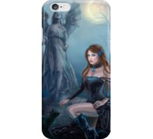 Fantasy beautiful woman with black cat about a statue. wood at night.  iPhone Case/Skin
