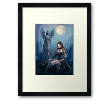 Fantasy beautiful woman with black cat about a statue. wood at night.  Framed Print