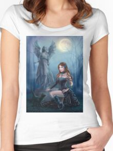Fantasy beautiful woman with black cat about a statue. wood at night.  Women's Fitted Scoop T-Shirt