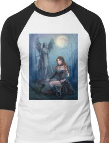 Fantasy beautiful woman with black cat about a statue. wood at night.  Men's Baseball ¾ T-Shirt