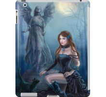 Fantasy beautiful woman with black cat about a statue. wood at night.  iPad Case/Skin