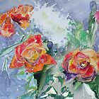 Four Orange Tea Roses by Dmitri Matkovsky