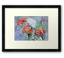 Four Orange Tea Roses Framed Print