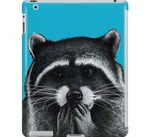 Hungry Raccoon on blue iPad Case/Skin