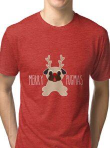 Merry Pugmas Fawn Pug Reindeer Tri-blend T-Shirt