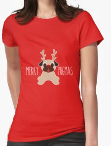 Merry Pugmas Fawn Pug Reindeer Womens Fitted T-Shirt