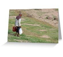 Old Man Walking Down The Hill Greeting Card