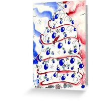 Red White and Blue Christmas Tree Greeting Card