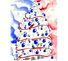 Red White and Blue Christmas Tree Photographic Print