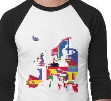 Europe map flags Men's Baseball ¾ T-Shirt